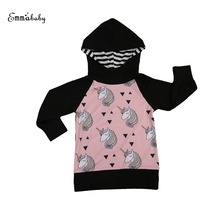 Toddler font b Kids b font Girls Long Sleeve Hooded Cartoon Unicorn Clothing Little Girl Coats