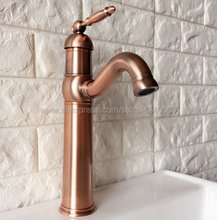 Basin Faucet Antique Red Copper Single Handle Bathroom Sink Vessel Mixer Tap Knf388