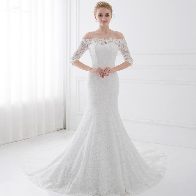 LZ191 Half Sleeve Off White Dress Off Shoulder Mermaid Wedding Dress ...