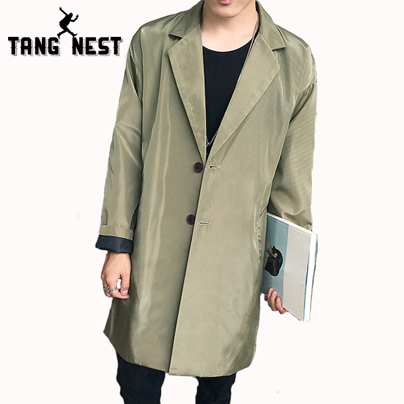 TANGNEST 2017 Autumn Fashion Long Trench Coat Men Hot Sale Casual Slim Jacket Male Solid Color All-matched Windbreaker MWF294