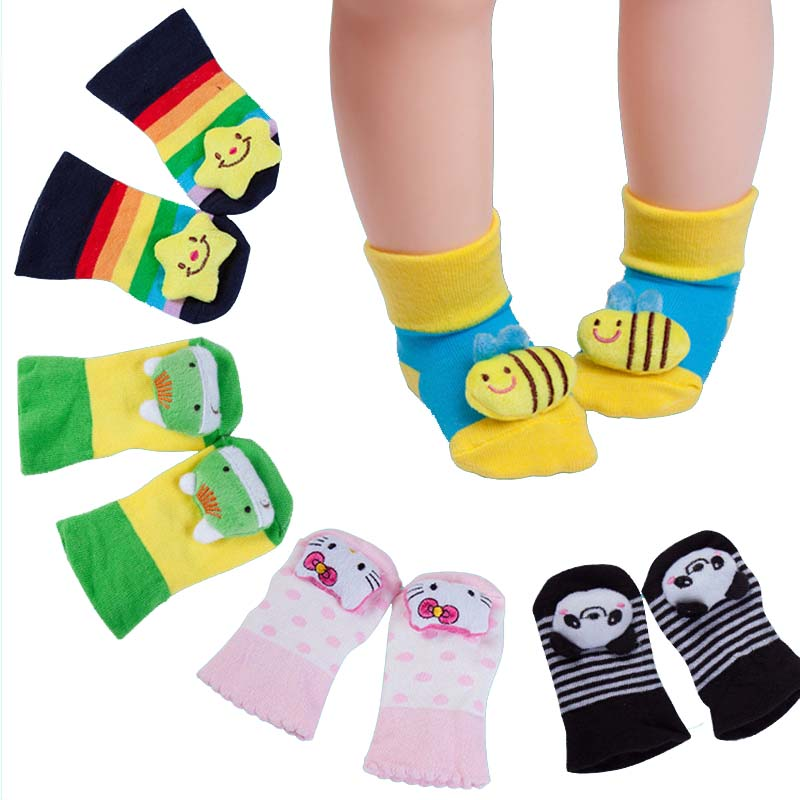 2018 Baby legetøj Dyrsokker Baby fod Anti-slip Toddler Boys Girls Sock Cotton tredimensionelle tegneserie baby sokker i 0-18month
