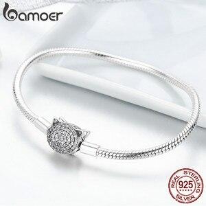 Image 5 - BAMOER 100% 925 Sterling Silver Cute Cat Glittering CZ Snake Strand Chain Bracelets for Women Sterling Silver Jewelry SCB053