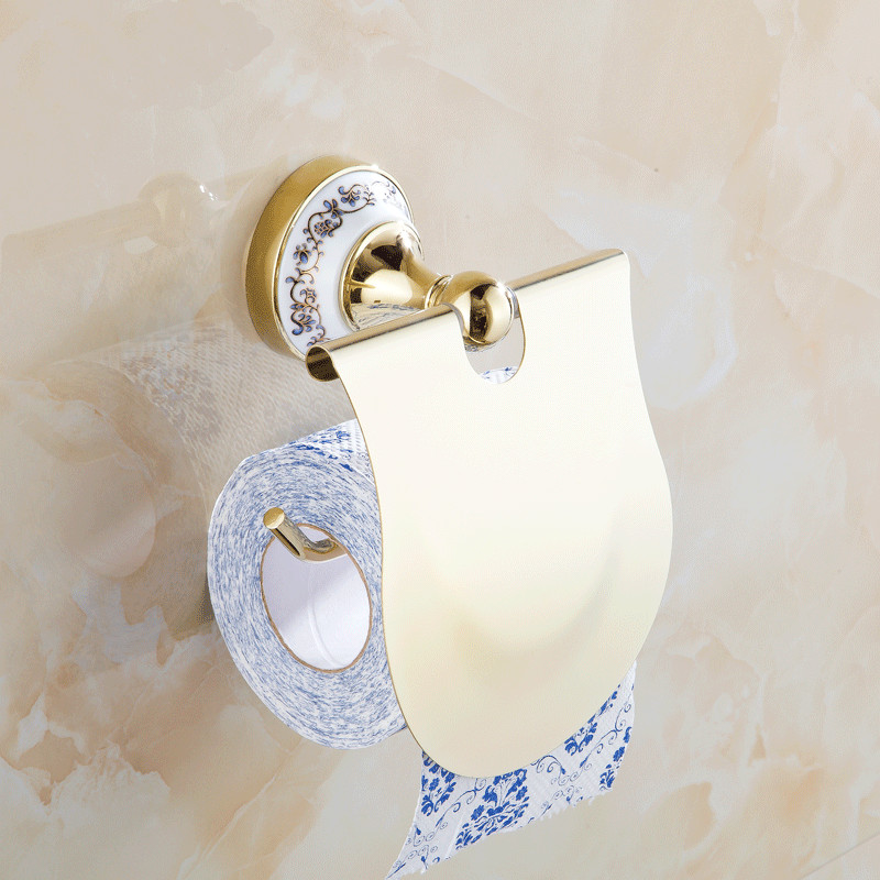 luxury goldsilver toilet paper holder chrome polished toilet holder porcelain tissue box bathroom accessories