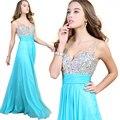 Vestidos bonitos de la tarde 2015 nuevas mujeres del vestido que rebordea v-cuello atractivo vestidos largos caseros que vienen de noche Formal del vestido