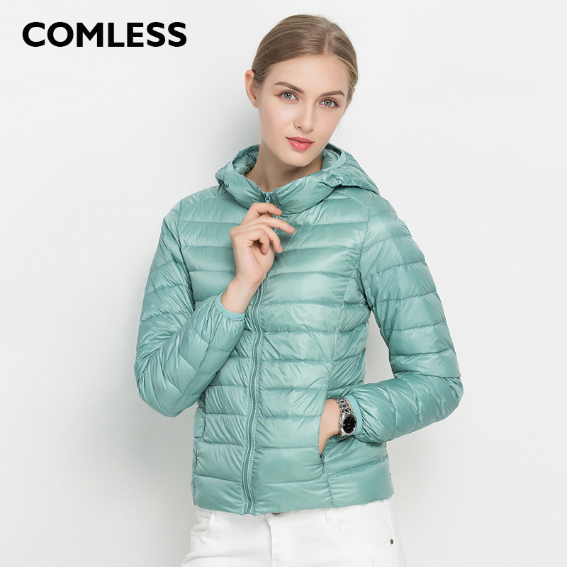 COMLESS 18 Colors Casual Ultralight Down Jacket with 90 Down 10 Feather Women Hoodies Winter White