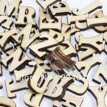 Mixed 200pcs Original Wood Color Natural Wooden Cabochon Alphabet Letter Bead For Children's Christmas Gift