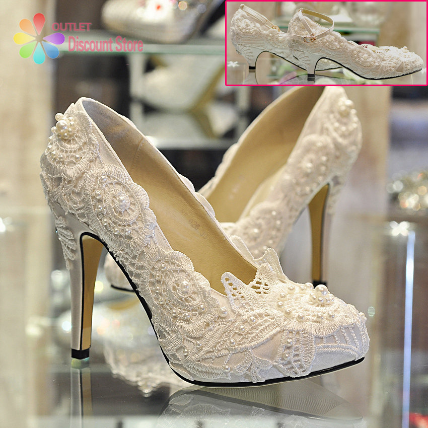 Eelgant White And Red Lace Wedding Shoes Handmade Custom Plus Size 12 Bridal  High Heels Buckle Chunky Low Heel Saltos BTH001 In Womenu0027s Pumps From Shoes  On ...