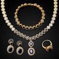 Новый Кубический циркон золотое ожерелье наборы 4 шт. комплект ювелирных изделий ожерелье, серьги, браслет и кольцо cz цирконий женщины колье черный