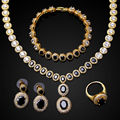 New Cubic zircon gold necklace sets 4pcs jewelry set of necklace earrings bracelet and ring cz zirconia women necklace set black