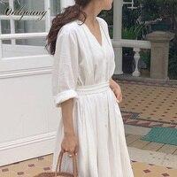 Onlyoung 2018 Summer Women Long White Dress Elegant Vintage Half Sleeve Sexy Loose Maxi Tunic Beach Dress