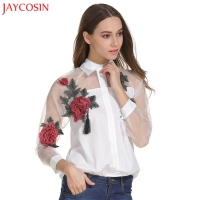 JAYCOSIN Blouse Shirt Women 2017 Fashions Floral Embroidered Tops Long Sleeve Shirt Hollow Mesh Blouse Tops