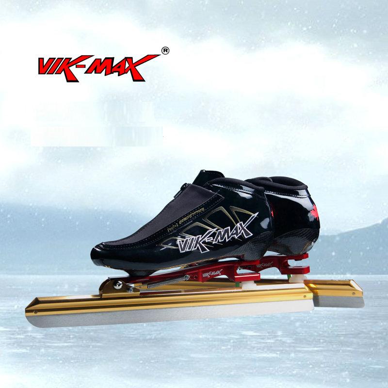 Prix pour VIK-MAX haute qualité patin à glace de vitesse chaussures avec haute en acier au carbone lame de glace belle vente chaude vitesse skate chaussures