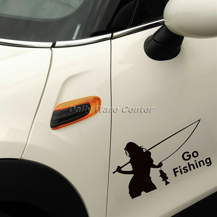 1Pc Beauty Go Fishing Car Stickers On Cars Motorcycle Windscreen Body Panel Bumper Decal for Car Styling Car sticker Accessories
