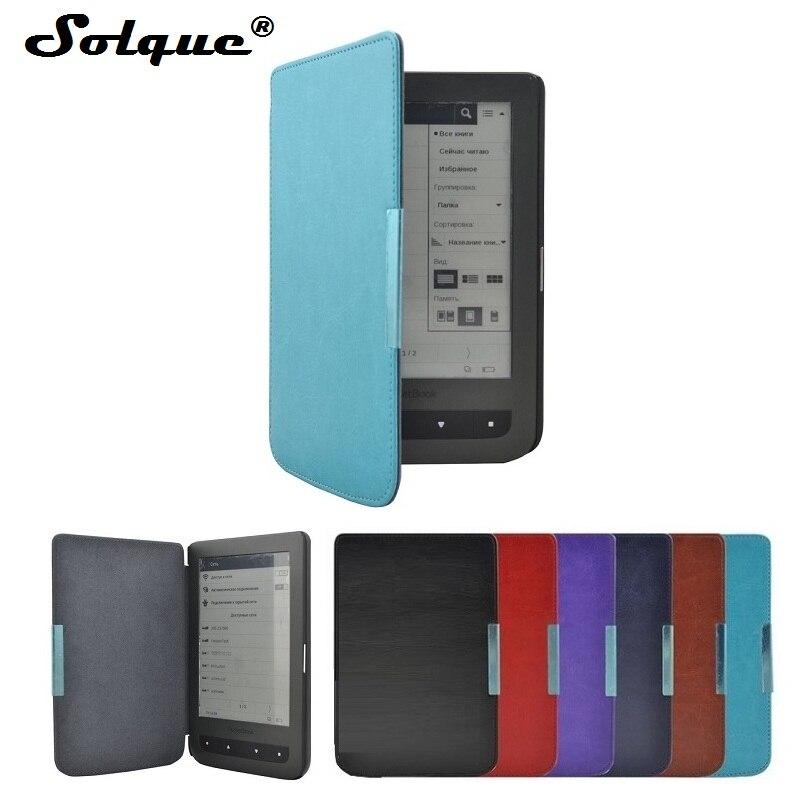 Solque PU En Cuir eBook Cas Pour Pocketbook 626 Plus Lux 3 Mince Aimant Flip Couverture Pour Livre De Poche 614 624 640 Tactile Lecteur Cas