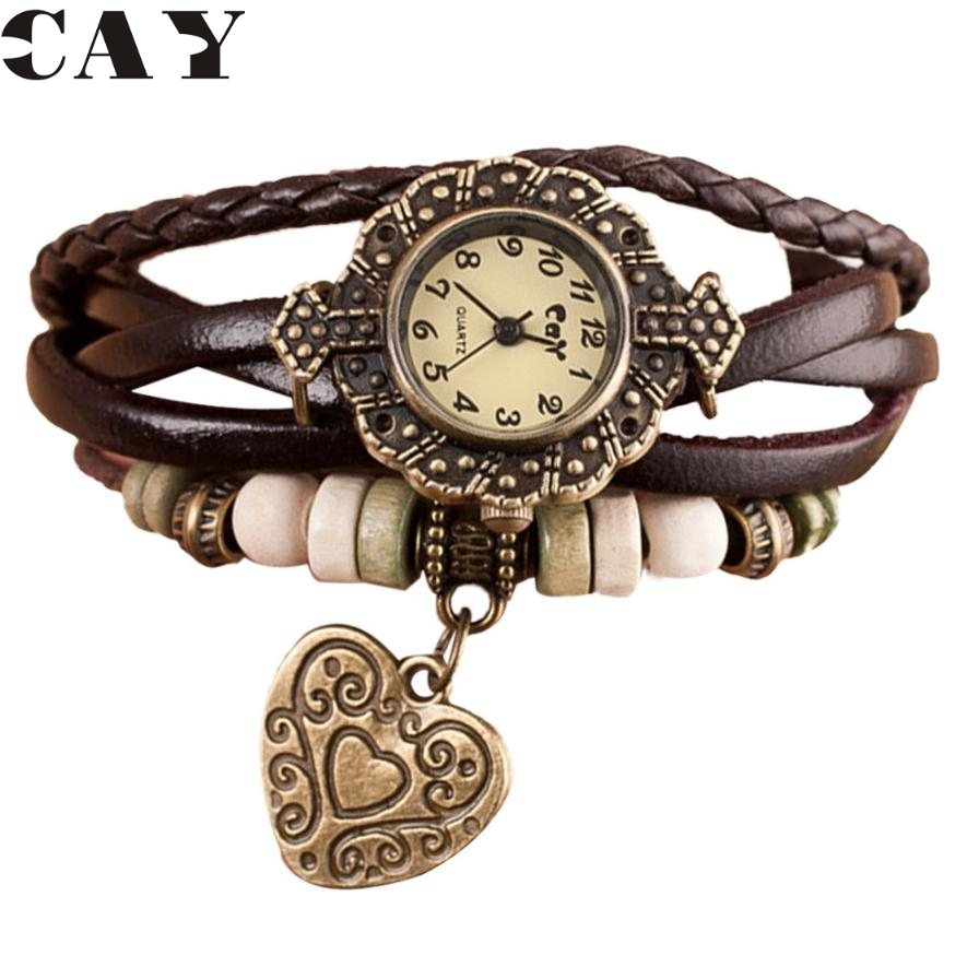 Superior Quartz Weave Around Leather Bracelet Lady Woman Love Heart Wrist Watch August 22