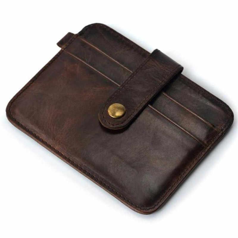2019 New Hot Sale Vintage Slim Kartu Kredit Pemegang Mini Dompet ID Case Dompet Casing Kantong Kulit Buatan Dompet Perjalanan saku
