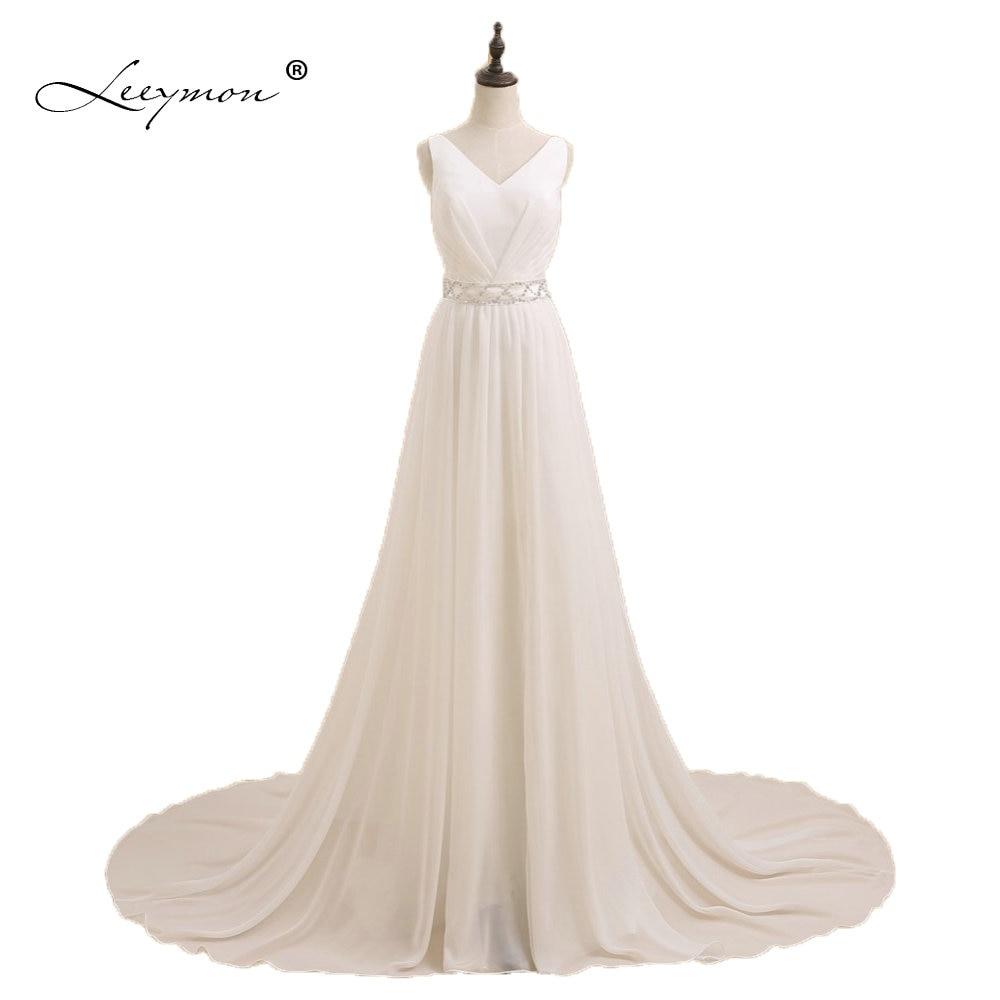 Leeymon Real Simple A-line Backless Long Chiffon Wedding Dress 2019 Beach Bridal Gown Boho Wedding Dress ZY08