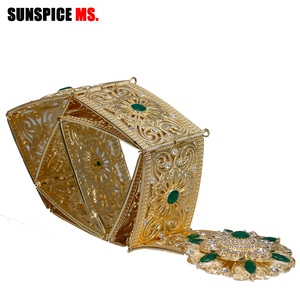 Image 4 - Sunspicems Moroccan Belt Caftan Jewelry for Women Gold Color Red Green Crystal Belly Chain