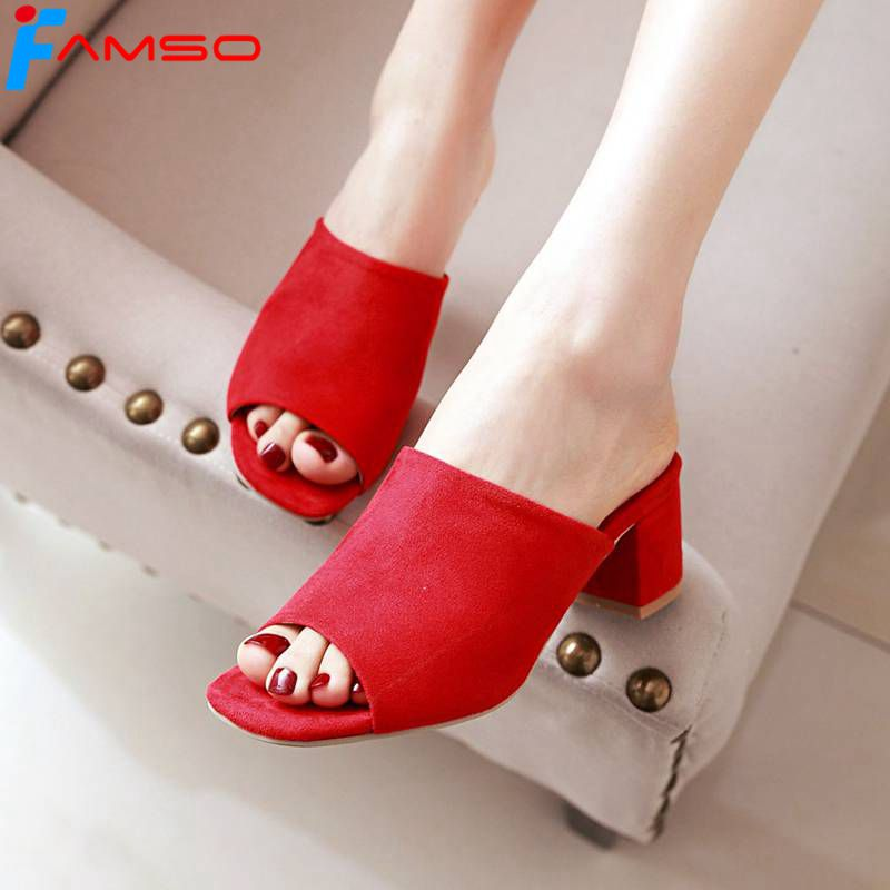FAMSO 2018 Shoes Women Sandals Shoes black yellow red Wedding Shoes Thick heels Summer Casual Lady Slides Shoe Outside Slippers