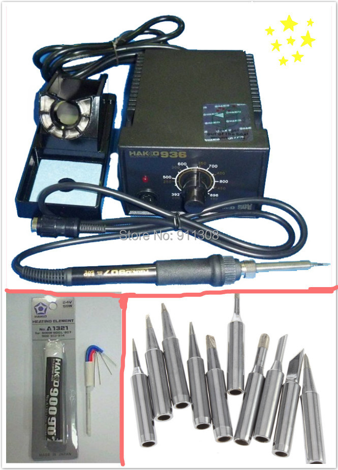 ESD safe 220V 60w HAKKO936 soldering welding Station +heating element A1321 +10pcs Hakko soldering iron tips free shipping dhl free shipping hot sale 220v hakko fx 888 fx888 888 solder soldering iron station with 10 free tips 900m t