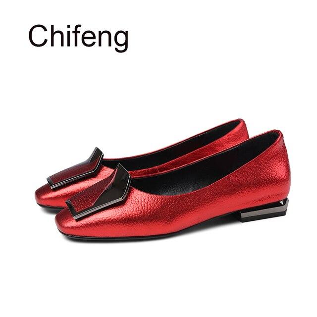 Para mujer zapatos planos ocasionales del cuero genuino de las mujeres  zapatos mocasines de tacón cuadrado 931da3f3d67