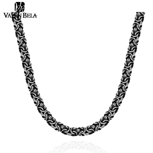 VALEN BELA Black Chain Special Design Choker Man 316L Stainless Steel 24inch Steampunk Men Torques Necklace Jewelry XL1684