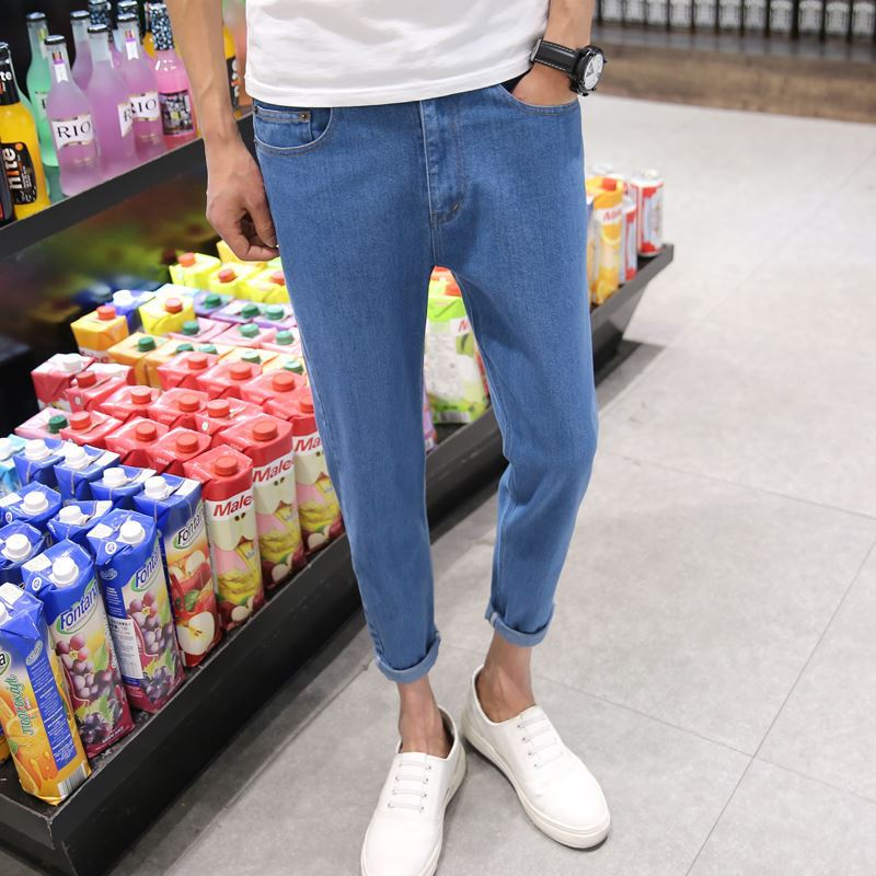 Fashion 2017 Summer Casual Overall Denim Harem pants cowboy young Students Hip Hop pants men loose jeans little thin Trousers