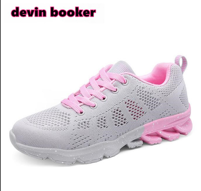 New listing hot sale summer Breathable Flying wire weaving women running shoes buffer sneakers D1808