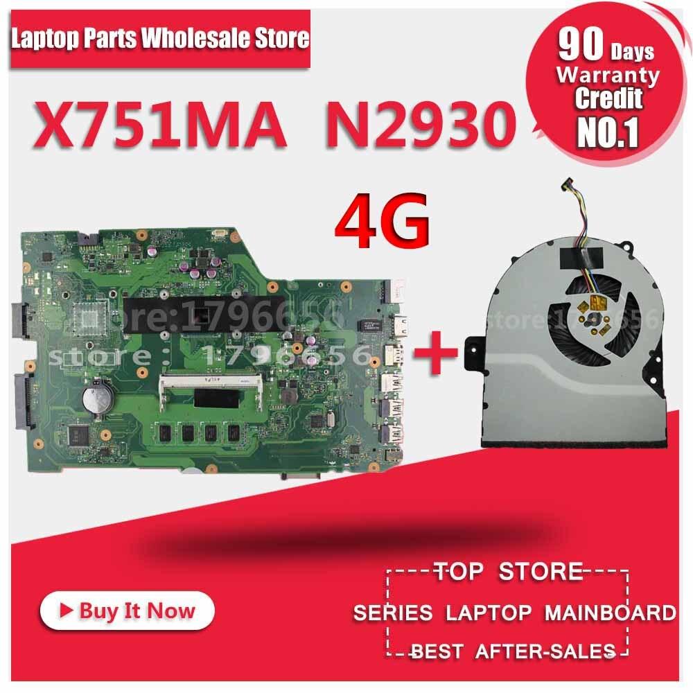 r752md motherboard x751md rev2 0 mainboard k751m k751ma x751ma r752m processor n3530 with 4g memory on board gt 820m 1g tested K751M K751MA X752M R752MA X751MA Motherboard For Asus N2930 4GB Processor X751MD REV2.0 Mainboard Tested ok