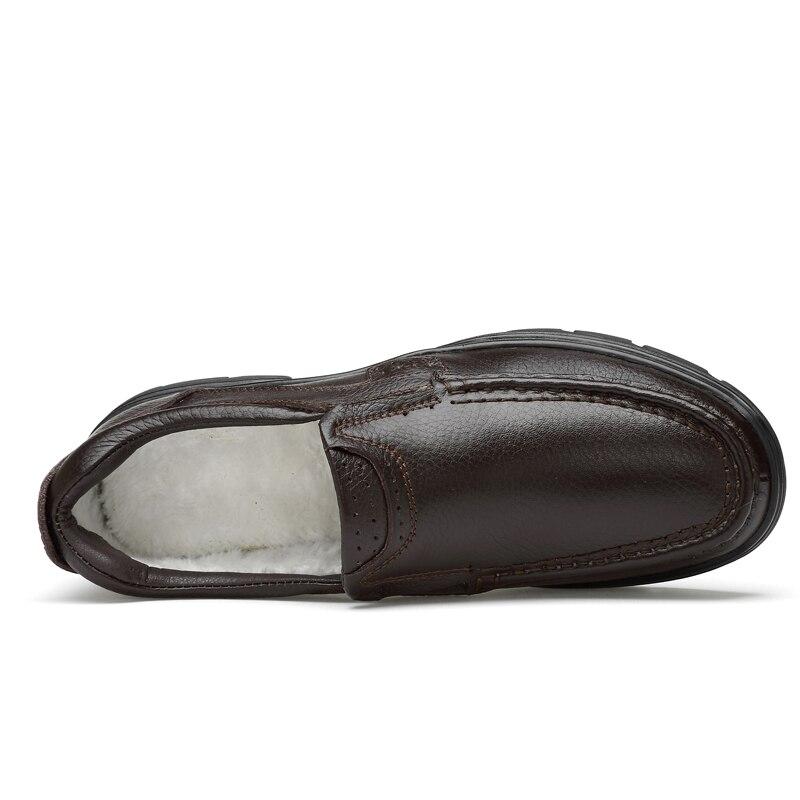 27bcd85bb Fur Alta Couro New With Quente brown Inverno Qualidade Homens De Masculinos  Black No Fur Sapatos ...