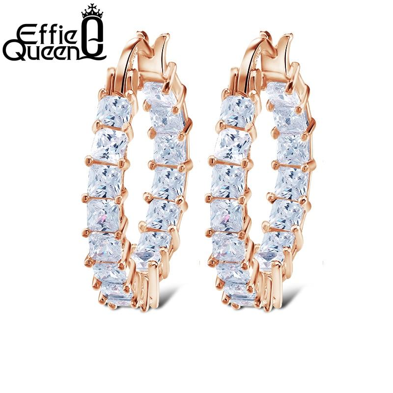 Effie Queen Liels apaļas stīpas sieviešu auskars Eternity stils ar - Modes rotaslietas - Foto 3