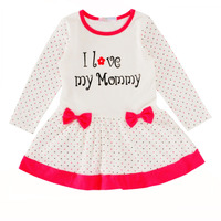 AzurWish Lovely Spring Autumn Winter Cotton Baby Girl Dress I Love Mother Letter Princess Dress Bow