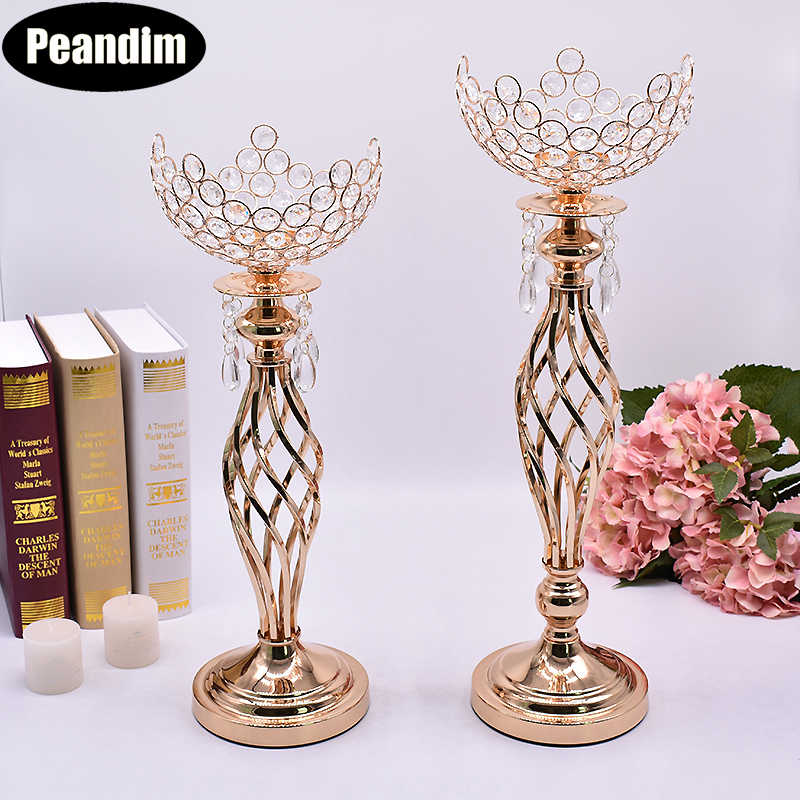 PEANDIM Hollow Wedding Centerpieces Crystal Bowl Shape Flower Vase Strands Candlestick Gold Candle Lantern Crystal Candle Holder