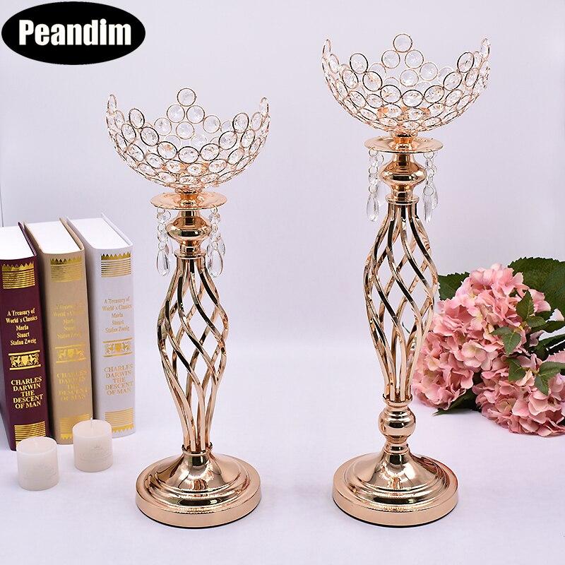 PEANDIM Hollow Forma di Ciotola di Cristallo Centrotavola Matrimonio Vaso di Fiore Fili Candeliere Candela Oro Lanterna Supporto Di Candela di Cristallo