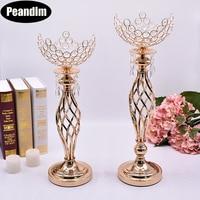 PEANDIM Hollow Wedding Centerpieces Crystal Bowl Shape Flower Vase Strands Candlestick Gold Candle Lantern Crystal Candle Holder