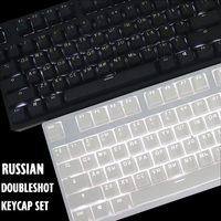 RUSSIAN ROOT Keycaps Double shot Black White Thick PBT backlit keycap ANSI OEM Profile Keycap For MX Switches Keyboard