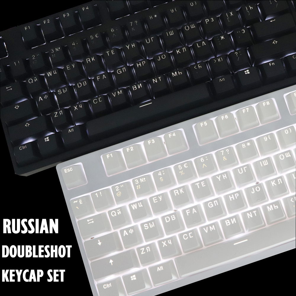 RUSSIAN ROOT Keycaps Double-shot Black White Thick PBT Backlit Keycap ANSI OEM Profile Keycap For MX Switches Keyboard