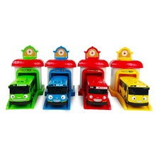 Free delivery 4pcs/set Korean Cute Cartoons garage tayo the little bus model mini tayo plastic baby car for Christmas gift