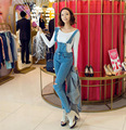 Летом стиль женщины джинсовый комбинезон 2017 macacao feminino старинные комбинезон женские комбинезон джинсы с дырками женщины общая playsuit