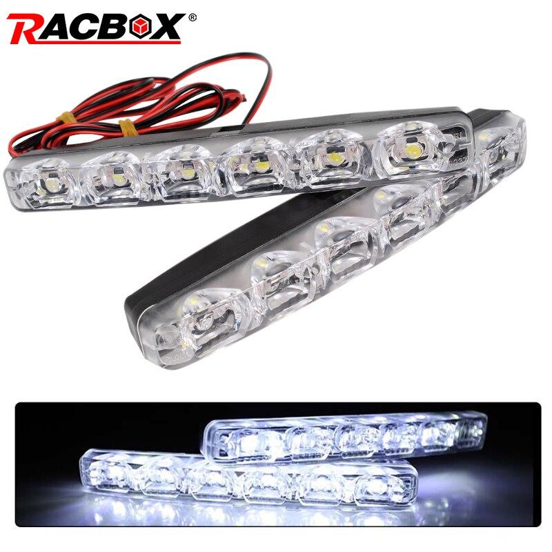 Racbox 2Pcs 6 LEDs Car Daytime Running Lights Car-styling DRL Car Daytime Lamp Auto Fog Light Super Bright Waterproof DC 12V