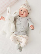 Cute Bunny Infant Baby Boy Girl Bodysuit Hat Romper Tops Pants Outfits 3pcs Set