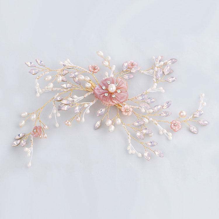 Gorgeous Handmade Golden Crystal Freshwater Pearls Flower Leaf Wedding Hair Clip Barrette Bridal Headpiece Hair accessories fashion barrette baby hair clip 10pcs cute flower solid cartoon handmade resin flower children hairpin girl hairgrip accessories