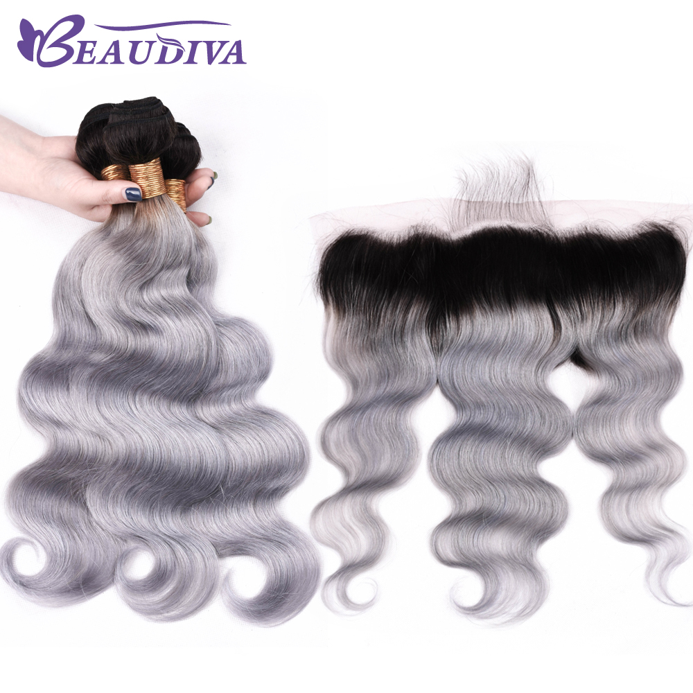 Beaudiva Hair Brazilian Body Wave Hair 13*4 Lace Frontal Closure With Bundles 3/4 PCS Human Hair TB Gray Color Extensions