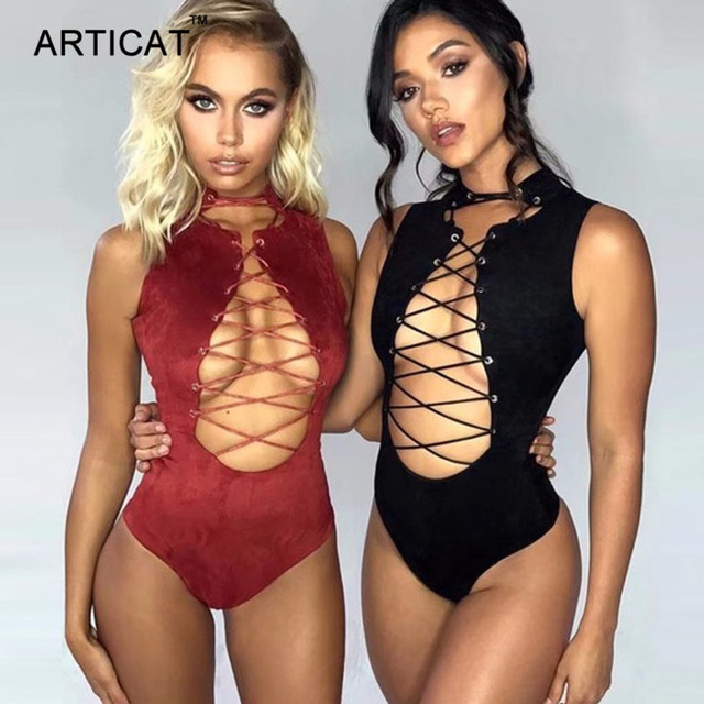 Articat Cruz encaje Sexy mujeres de gamuza sin mangas Bodycon vendaje Mono para mujer mono Skinny Cami mono