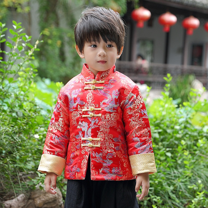 39ebe20d5 chinese style qing traditional winter boy clothing child tang suit for new  year baby boy clothes 2018 купить по лучшей цене