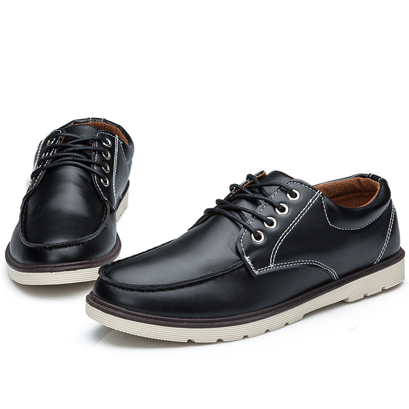 Plus Size 2016 New Fashion PU Leather Lace-up Solid Colors Flat Men Casual Oxford Shoes Low Man Spring Autumn