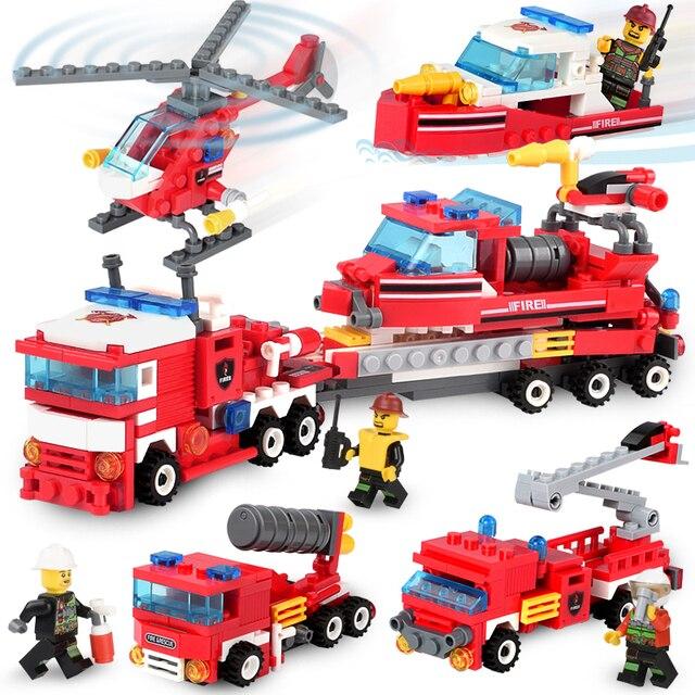 348 Pcs Pemadam Kebakaran 4in1 Truk Helikopter Mobil Perahu Blok Bangunan Kompatibel Secara Terbuka Pemadam Kebakaran Kota Angka Mainan Anak
