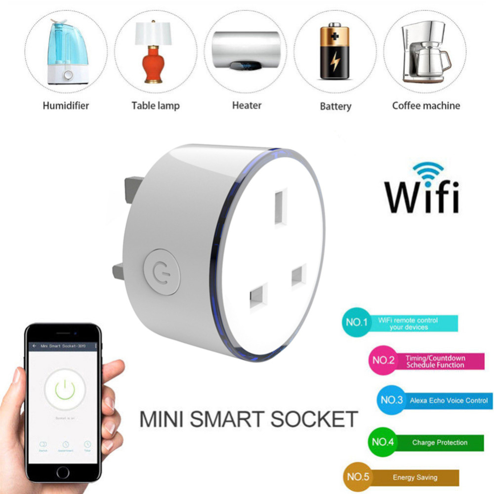 Smart Plug Wifi Smart Socket Power Monitor UK Plug RGB Scene Light Remote Smart Timer Plug Voice Control Fire Retardant Outlet