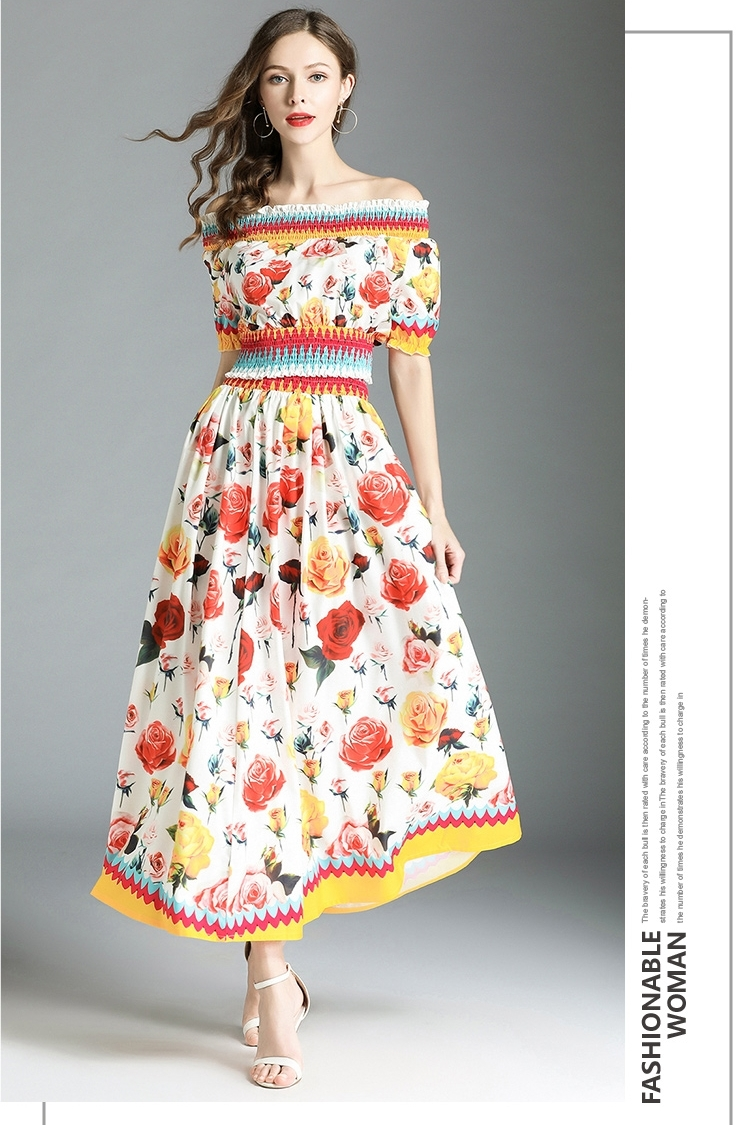 60f40c63ce Runway Designer Two Pieces Women Set Sexy Cropped Tops Beach Long Skirts  Bohemian Boho Floral Maxi