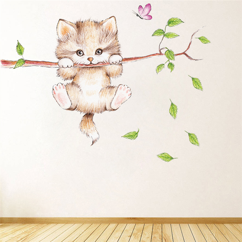cute cat butterfly tree branch wall stickers for kids rooms home decoration cartoon animal wall decals diy posters pvc mural art 2